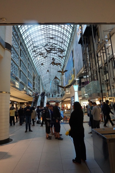 Entrance off James Street of the Eaton Centre. The ducksare not real, but they look fantastic.
