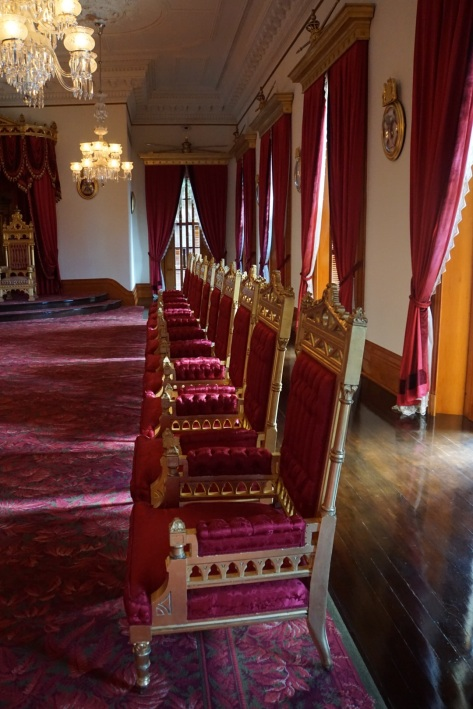 In the most important area in the Palace where the coronation was held for one of the kings and the taking down of the Queen. Restored furniture.