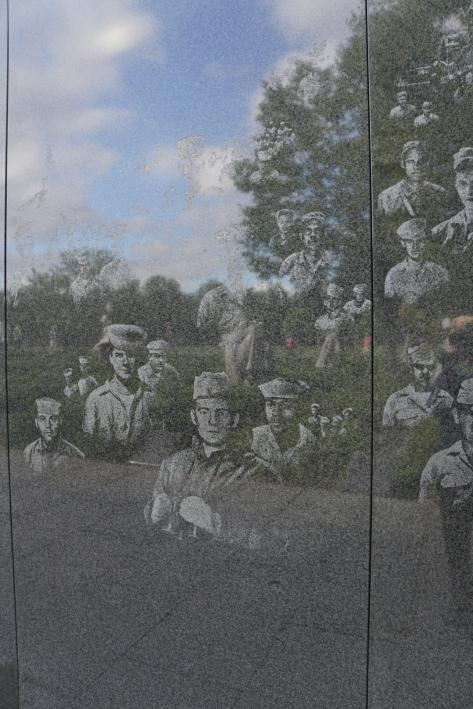 Korean War Memorial sculptures and images in reflection